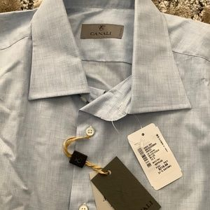 NWT Men's Canali Button Down Dress Shirt Blue